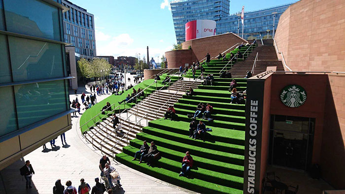 Liverpool One Sugar House Steps covered in artificial grass
